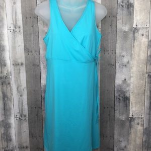 ATHLETA aqua teal wrap dress